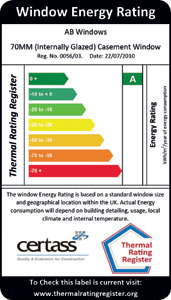Certass thermal rating for Window energy efficiency ratings